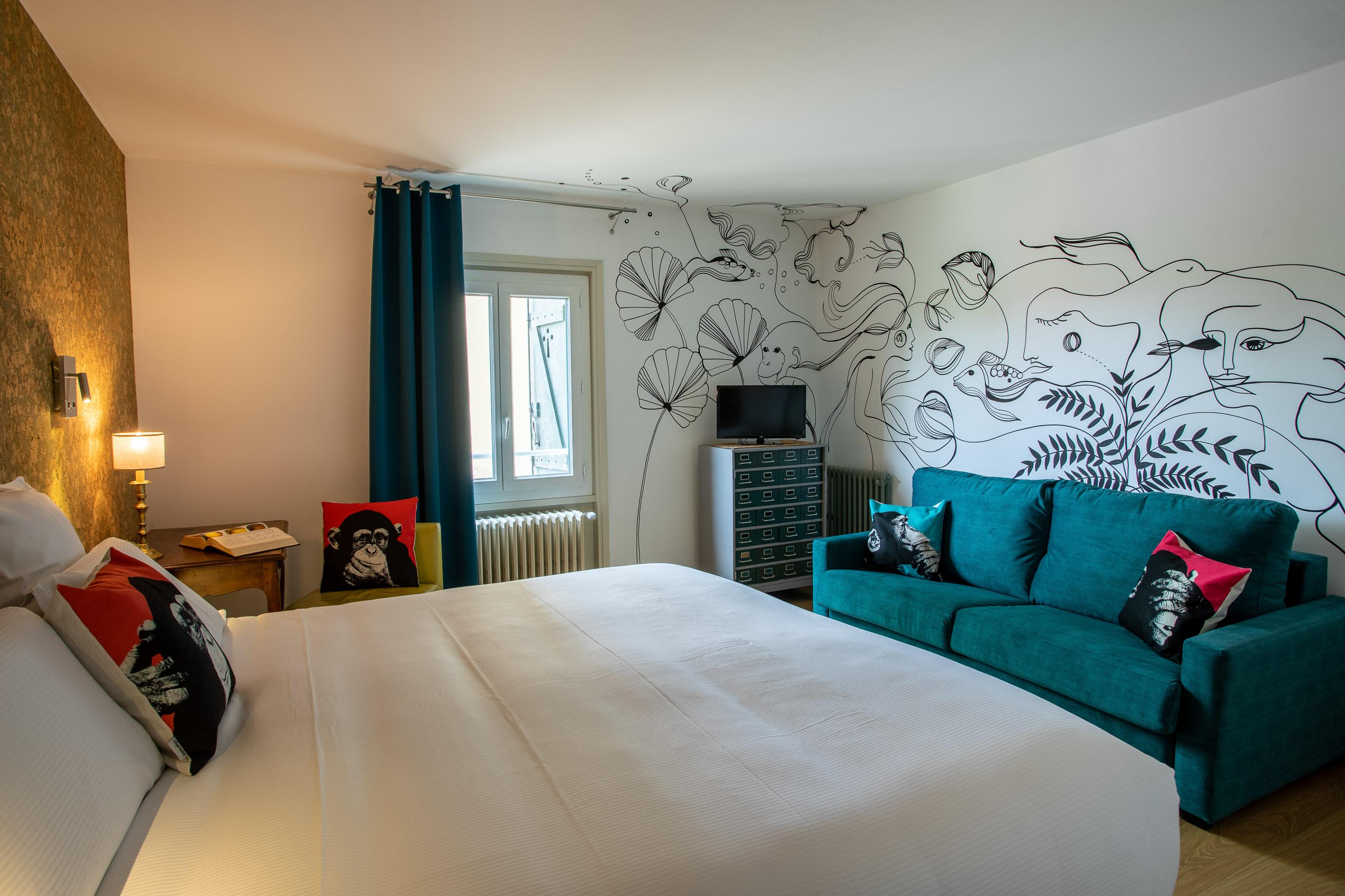 Chambre Argent de l'Hôtel de Charme La Huchette proche de Lyon